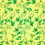 Флористический орнамент - зеленые растения, цветки, листья, ветви на желтой предпосылке покрасьте вектор возможных вариантов карт Стоковое фото RF