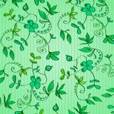 Флористический орнамент - зеленые растения, цветки, листья, гольцы на зеленой предпосылке в нашивках покрасьте вектор возможных в Стоковое Изображение