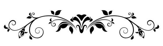 флористический орнамент Иллюстрация вектора черно-белая Стоковая Фотография RF