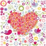 Флористический, открытка сердца цветков красная иллюстрация штока