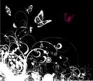 флористический серый вектор grunge Стоковое Изображение