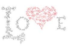 флористическое сердце купели помечает буквами влюбленность Стоковая Фотография RF