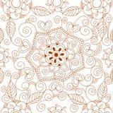 Флористической предпосылка Индии племенная Пейсли картины хны иллюстрации вектора орнамента картины mehendi нарисованная рукой Стоковая Фотография