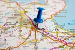 Фоджа на карте стоковые фото