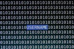 Фокусируя текст имени пользователя на экране компьютера Стоковые Фото