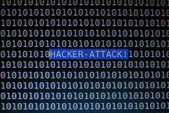 Фокусируя текст нападения хакера на экране компьютера Стоковые Изображения RF