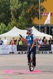 Фокусы Narcis Roca с monocycle Стоковое фото RF