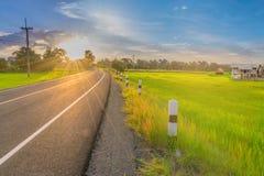 Фокус абстрактной нежности запачканный и мягкий силуэт восход солнца с дорогой, неочищенным рисом field, красивые небо и облако в Стоковые Изображения RF