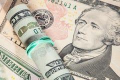 фокус глаз долларов предпосылки Стоковое Изображение