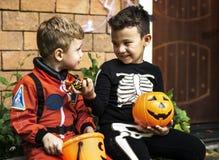 Фокус маленьких детей или обрабатывать на хеллоуине стоковые изображения rf