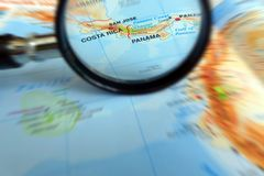 Фокус на принципиальной схеме Костарика и Панамы Стоковые Изображения RF