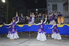 Фольклорная музыка певицы тайская на этапе Стоковое Изображение RF