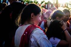 Фольклорные танцоры на день ` s национального суверенитета и детей - Турция Стоковое Изображение RF
