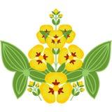 Фольклорный флористический орнамент желтых цветков с листьями Стоковое Изображение RF
