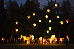 фонарики в небо Стоковое Изображение
