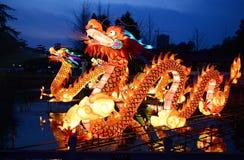 Фонарики дракона освещая вверх стоковые фото
