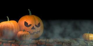 Фонарики накаляя на лунном свете в пугающей ноче - сцене хеллоуина, переводе 3d стоковые изображения rf