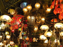 Фонарики на грандиозном базаре, Стамбуле Стоковая Фотография RF