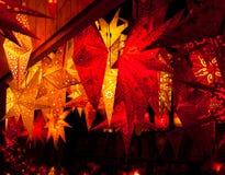 Фонарики на рождественской ярмарке в Франкфурте Стоковые Изображения
