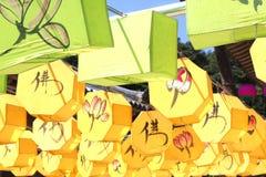 Фонарики 3 лотоса буддийского виска Стоковое Фото