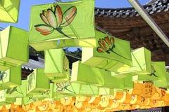 Фонарики 2 лотоса буддийского виска Стоковая Фотография