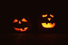 Фонарики тыквы хеллоуина с злими сторонами Стоковые Изображения RF