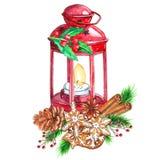 Фонарик акварели традиционный красный со свечой и оформлением рождества бесплатная иллюстрация