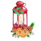 Фонарик акварели традиционный красный со свечой и оформлением рождества иллюстрация штока
