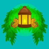 Фонарик стоит на елевых ветвях и блесках теплых на конусах сосны, векторе свечи светлых Стоковое Фото