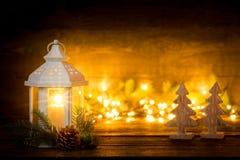 Фонарик Украшения рождества с фонариком приветствие рождества карточки Стоковые Изображения
