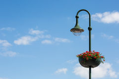 Фонарик улицы с цветочным горшком Стоковая Фотография RF