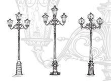 Фонарный столб или уличный фонарь Иллюстрация вектора эскиза Стоковые Изображения RF