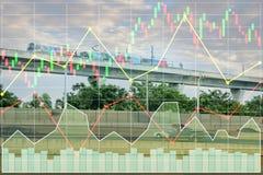 Фондовый индекс финансов дела вклада на поезде неба Стоковое Фото