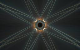 Фоновое изображение иллюстрации абстрактного характера с черной картиной средний-апельсина вокруг и серых лучей на серой предпосы Стоковая Фотография RF