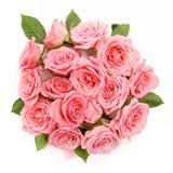 Фоновое изображение розовых роз Плоское положение, взгляд сверху Стоковая Фотография