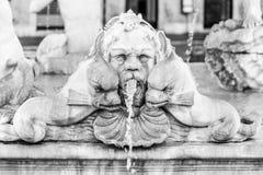 Фонтана del Moro, или причалить фонтан, на аркаде Navona, Рим, Италия Детальный взгляд скульптур стоковые изображения rf