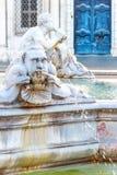 Фонтана del Moro, или причалить фонтан, на аркаде Navona, Рим, Италия Детальный взгляд скульптур стоковое изображение rf