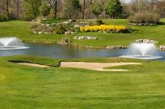 фонтаны курса golf вода Стоковые Изображения