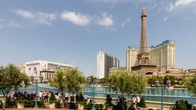 Фонтаны Bellagio и Париж Лас-Вегас стоковое изображение rf
