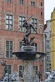 Фонтан в Гданьске, Польша Нептуна Стоковая Фотография