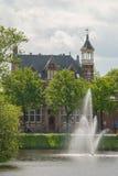 Фонтан в канале города в Zwolle Стоковые Фото