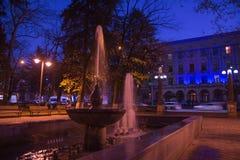 Фонтан в парке ночи Последняя ноча осени в парке Стоковые Изображения RF