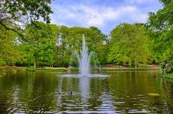Фонтан в пруде с зелеными деревьями, парке Keukenhof, Lisse, Голландии Стоковое фото RF