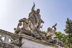 Фонтан греческого бога Нептуна, Аркады del Popolo, Рима, Италии Стоковое Изображение