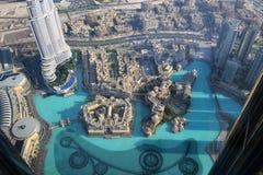 Фонтан Дубай & озеро, взгляд Highrise Стоковое Изображение RF