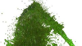 Фонтан зеленой жидкости как сок на белой предпосылке с пользой альфы штейновой оно любит канал альфы версия 2 номеров иллюстрация вектора