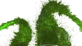 Фонтан зеленой жидкости как сок на белой предпосылке с пользой альфы штейновой оно любит канал альфы версия 3 иллюстрация штока