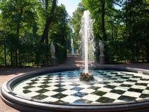 Фонтан и статуи в лете садовничают в Санкт-Петербурге, России Стоковые Изображения RF