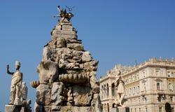 Фонтан 4 континентов в Триесте, Friuli Venezia Giulia (Италия) Стоковое Фото