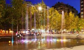 Фонтан на городской площади в Sant Adria de Besos Стоковое Изображение